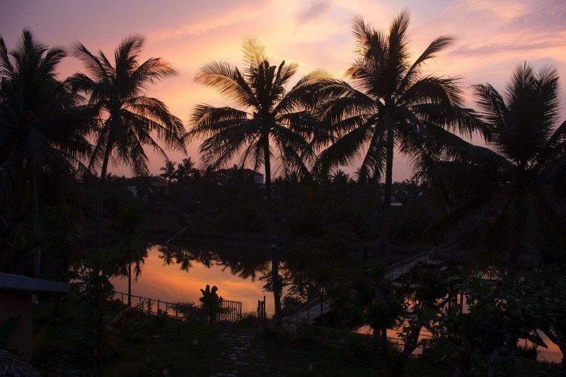 Vietnam Writing Retreat - Write Your Journey: Beautiful sunset over the river next to the retreat in Hoi An.